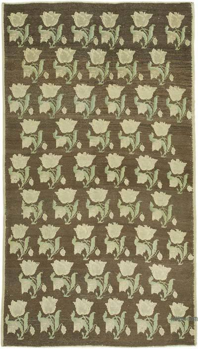 """All Wool Hand Knotted Vintage Area Rug - 4' 6"""" x 8'  (54 in. x 96 in.)"""