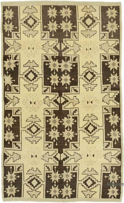 """All Wool Hand Knotted Vintage Area Rug - 4' 3"""" x 6' 9"""" (51 in. x 81 in.)"""