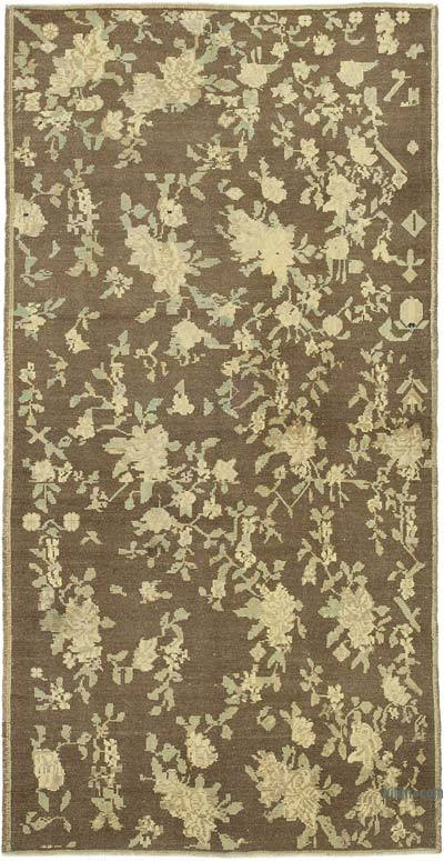 """All Wool Hand-Knotted Vintage Turkish Rug - 4' 1"""" x 8'  (49 in. x 96 in.)"""