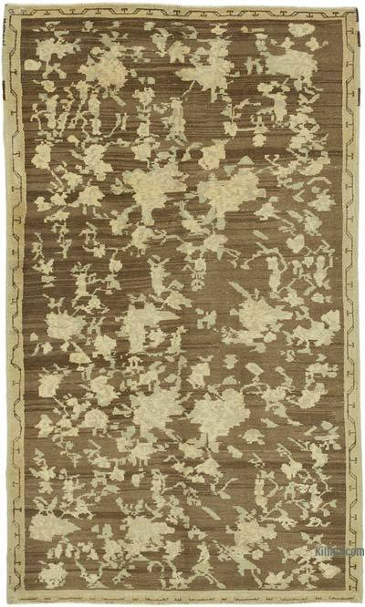 """All Wool Hand-Knotted Vintage Turkish Rug - 4' 6"""" x 7' 8"""" (54 in. x 92 in.)"""