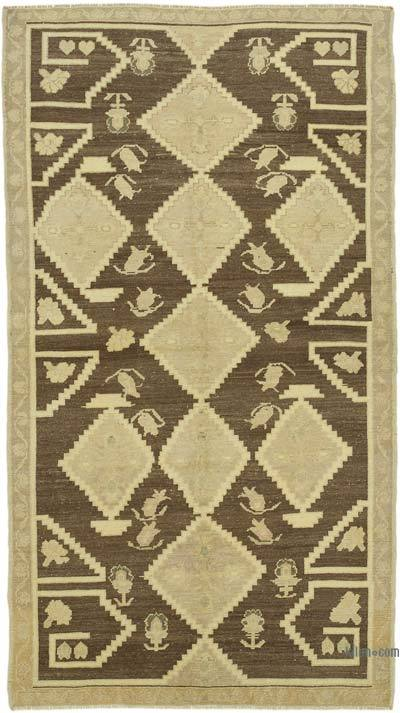 """All Wool Hand-Knotted Vintage Turkish Rug - 4' 1"""" x 7' 5"""" (49 in. x 89 in.)"""