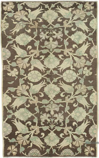 """All Wool Hand Knotted Vintage Area Rug - 4'7"""" x 7' (55 in. x 84 in.)"""