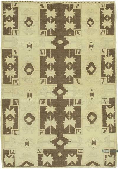 "All Wool Hand Knotted Vintage Area Rug - 4' 7"" x 6' 5"" (55 in. x 77 in.)"