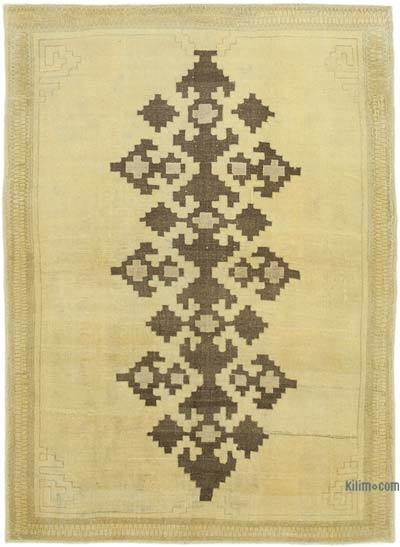 "All Wool Hand Knotted Vintage Area Rug - 4'6"" x 6'4"" (54 in. x 76 in.)"