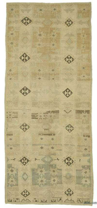 "All Wool Hand Knotted Vintage Area Rug - 4'  x 9' 4"" (48 in. x 112 in.)"