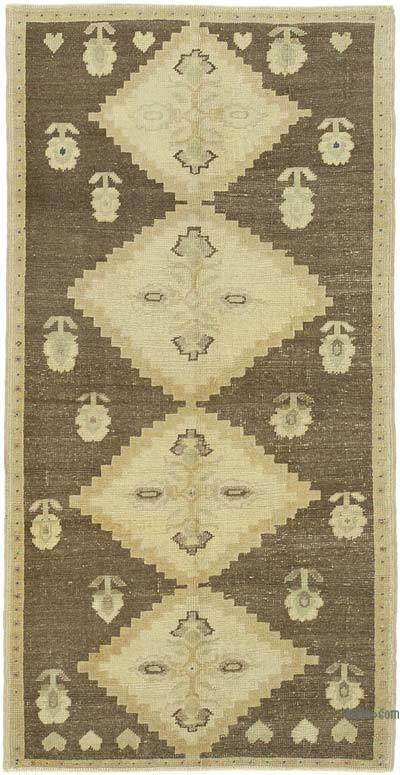 """All Wool Hand Knotted Vintage Area Rug - 3' 1"""" x 6'  (37 in. x 72 in.)"""