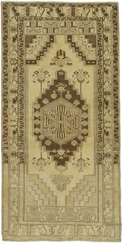 """All Wool Hand-Knotted Vintage Turkish Rug - 3' 7"""" x 7' 1"""" (43 in. x 85 in.)"""