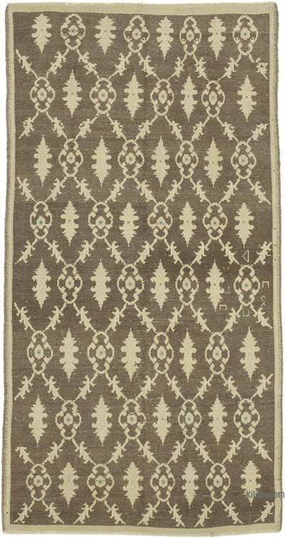 "All Wool Hand Knotted Vintage Area Rug - 3' 8"" x 7'  (44 in. x 84 in.)"