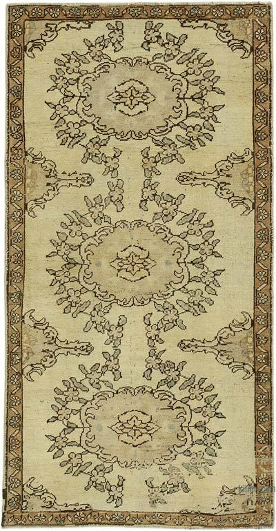 "All Wool Hand Knotted Vintage Area Rug - 3' 4"" x 6' 6"" (40 in. x 78 in.)"