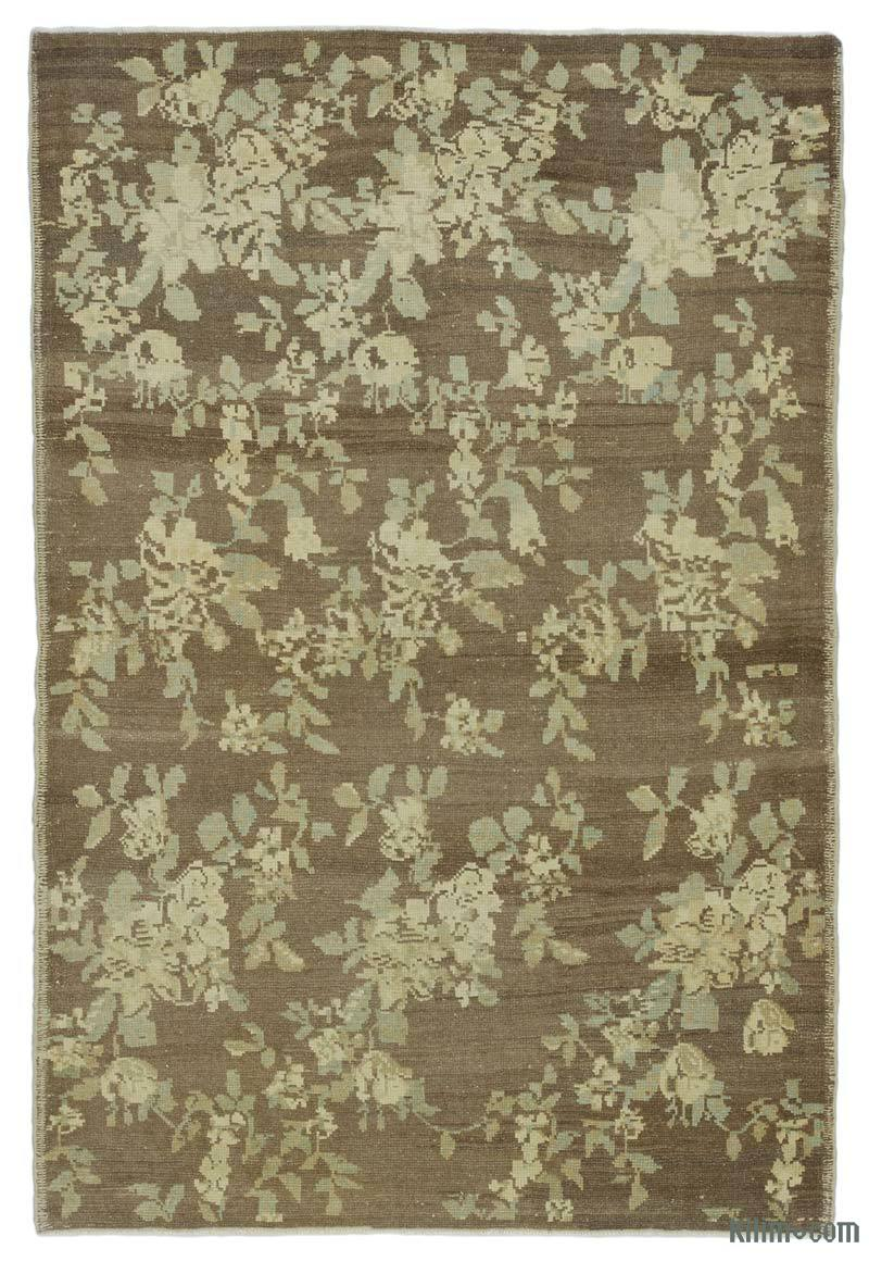 """All Wool Hand-Knotted Vintage Turkish Rug - 4' 4"""" x 6' 5"""" (52 in. x 77 in.) - K0039877"""