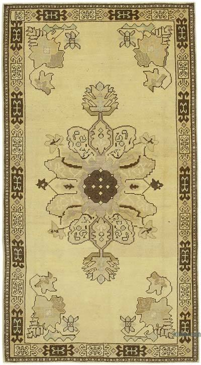 "All Wool Hand Knotted Vintage Area Rug - 3' 8"" x 6' 9"" (44 in. x 81 in.)"