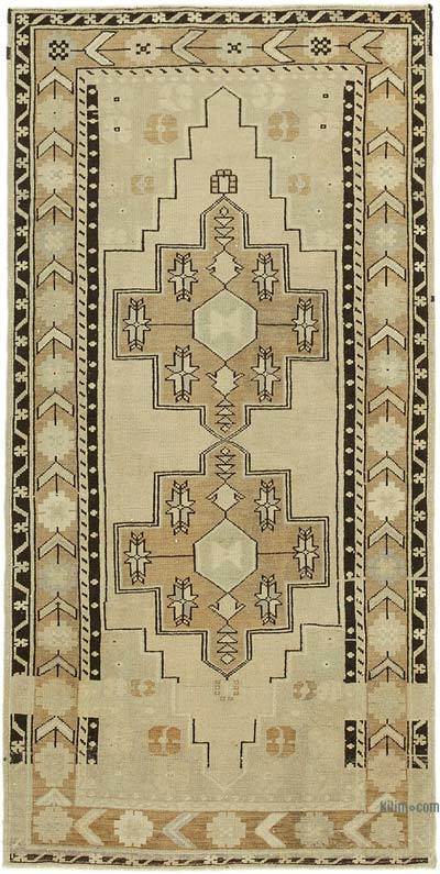 "All Wool Hand Knotted Vintage Area Rug - 3' 9"" x 7' 5"" (45 in. x 89 in.)"