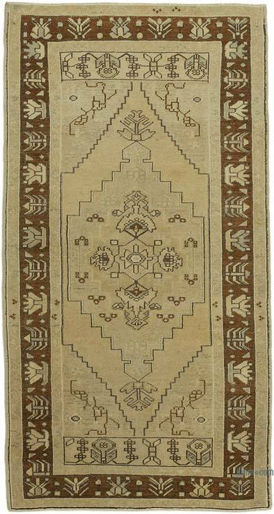 """All Wool Hand-Knotted Vintage Turkish Rug - 3' 5"""" x 6' 6"""" (41 in. x 78 in.)"""
