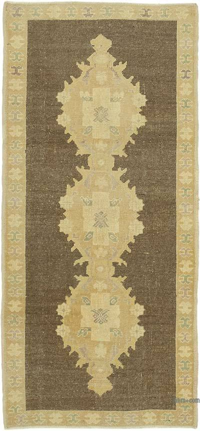 "All Wool Hand Knotted Vintage Area Rug - 3'  x 6' 6"" (36 in. x 78 in.)"