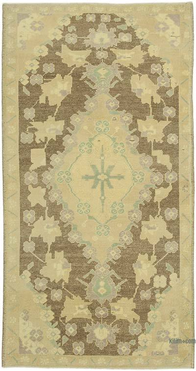 "All Wool Hand Knotted Vintage Area Rug - 3'10"" x 7'3"" (46 in. x 87 in.)"