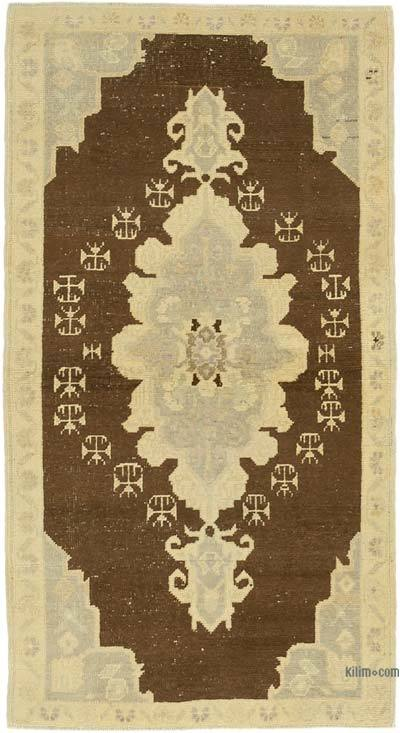 """All Wool Hand Knotted Vintage Area Rug - 2'11"""" x 5'6"""" (35 in. x 66 in.)"""
