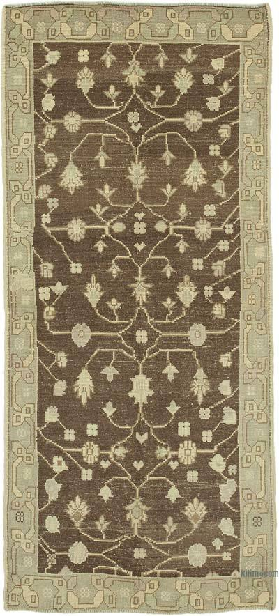 "All Wool Hand Knotted Vintage Area Rug - 3' 8"" x 8' 4"" (44 in. x 100 in.)"