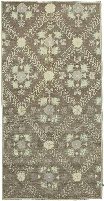 """All Wool Hand Knotted Vintage Area Rug - 3' 9"""" x 7' 5"""" (45 in. x 89 in.)"""