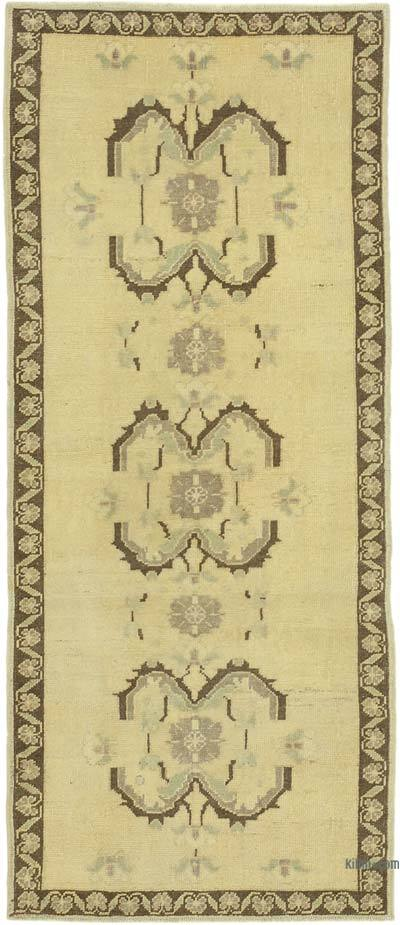 "All Wool Hand Knotted Vintage Area Rug - 3' 1"" x 7' 2"" (37 in. x 86 in.)"