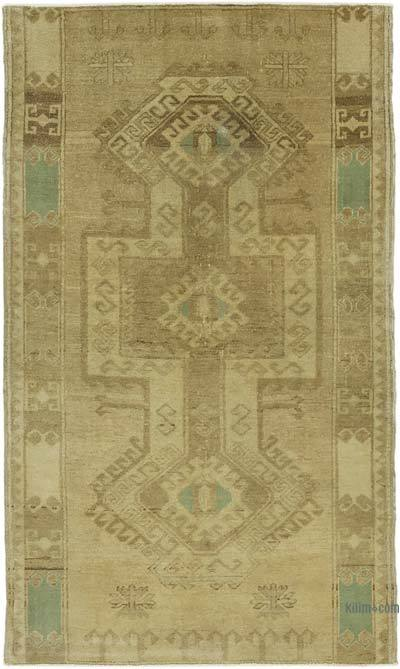 "All Wool Hand Knotted Vintage Area Rug - 3' 3"" x 5' 6"" (39 in. x 66 in.)"