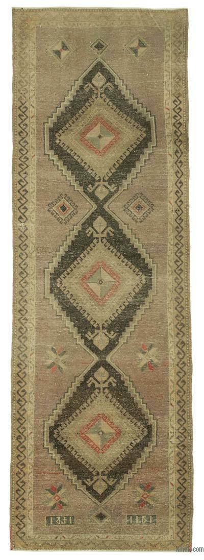 "All Wool Hand Knotted Vintage Area Rug - 3' 9"" x 11' 1"" (45 in. x 133 in.)"