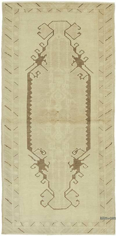 "All Wool Hand Knotted Vintage Area Rug - 3' 1"" x 6' 6"" (37 in. x 78 in.)"