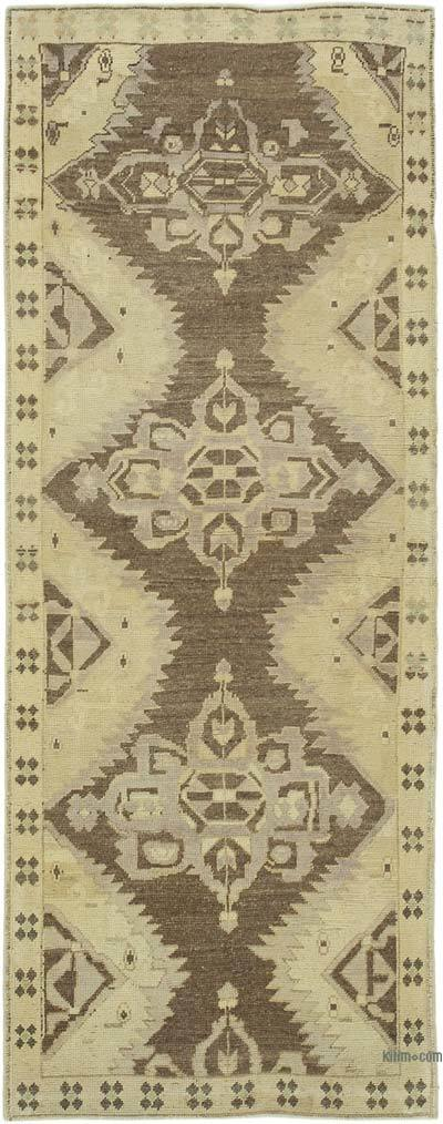 """All Wool Hand Knotted Vintage Area Rug - 3'3"""" x 8'3"""" (39 in. x 99 in.)"""