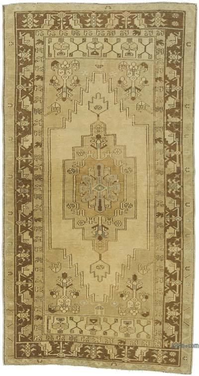 "All Wool Hand Knotted Vintage Area Rug - 3'7"" x 6'8"" (43 in. x 80 in.)"