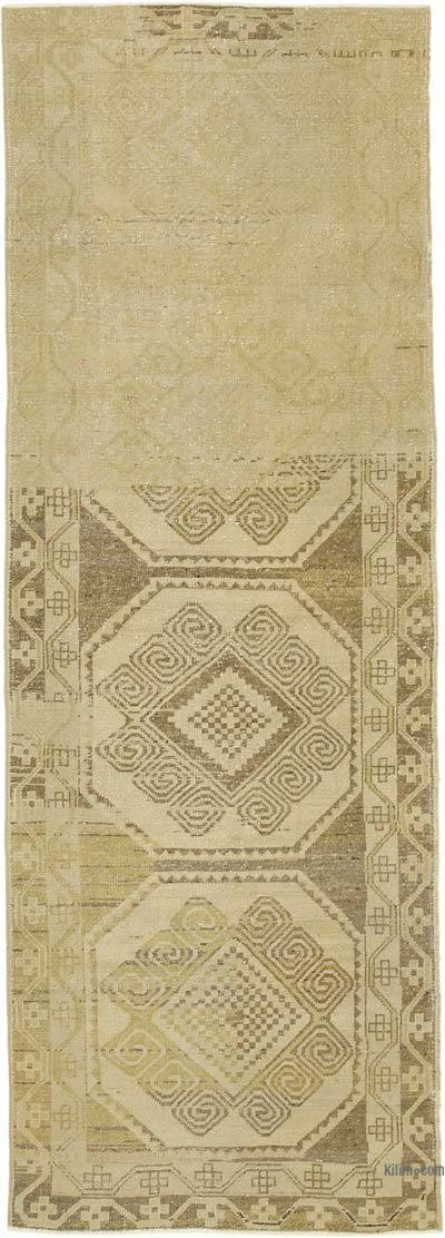 """All Wool Hand Knotted Vintage Area Rug - 3' 5"""" x 9' 7"""" (41 in. x 115 in.)"""
