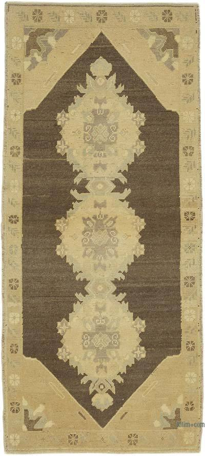 "All Wool Hand Knotted Vintage Area Rug - 3' 1"" x 6' 9"" (37 in. x 81 in.)"