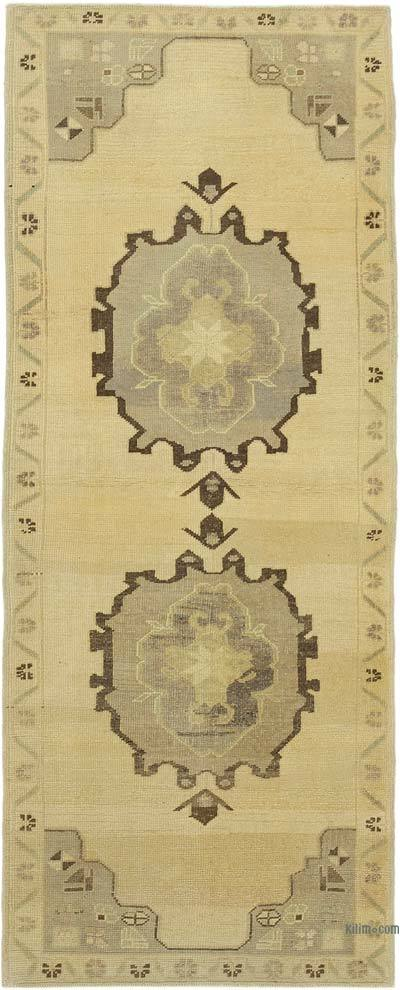 "All Wool Hand Knotted Vintage Area Rug - 3' 1"" x 7' 6"" (37 in. x 90 in.)"