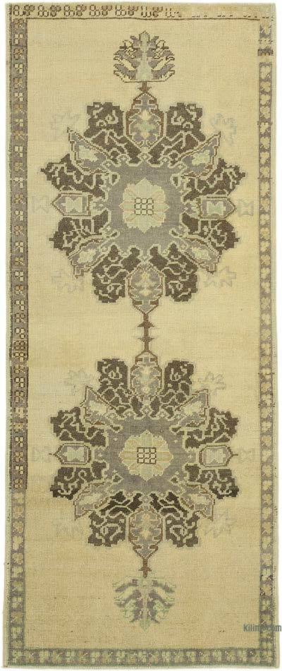 """All Wool Hand Knotted Vintage Area Rug - 2' 11"""" x 7' 1"""" (35 in. x 85 in.)"""