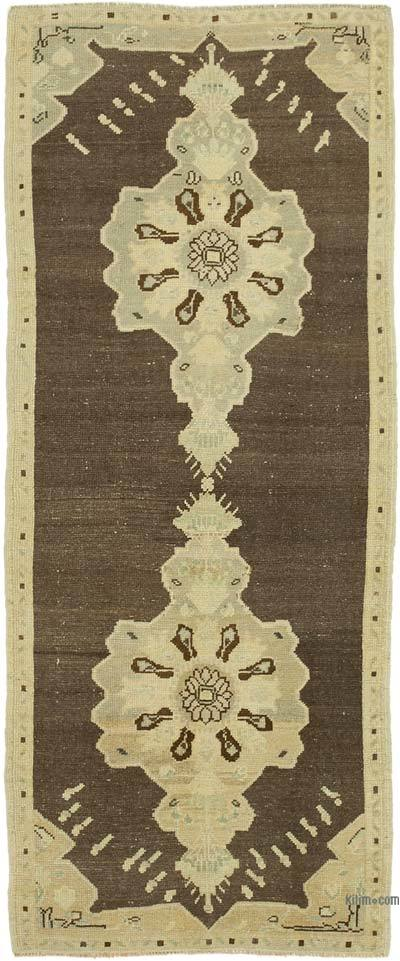 "All Wool Hand Knotted Vintage Area Rug - 3' 1"" x 7' 3"" (37 in. x 87 in.)"