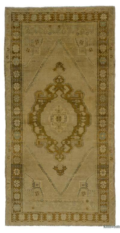 "All Wool Hand Knotted Vintage Area Rug - 3' 6"" x 7' 2"" (42 in. x 86 in.)"