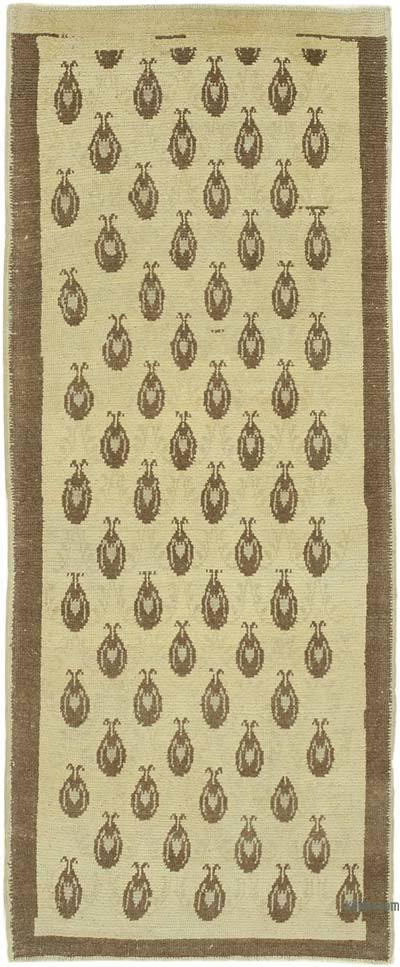 "All Wool Hand Knotted Vintage Area Rug - 2' 11"" x 7' 1"" (35 in. x 85 in.)"
