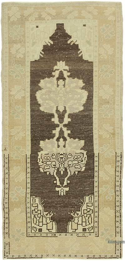 "All Wool Hand Knotted Vintage Area Rug - 2' 10"" x 6'  (34 in. x 72 in.)"