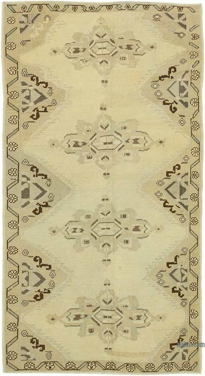 "All Wool Hand Knotted Vintage Area Rug - 3' 7"" x 6' 7"" (43 in. x 79 in.)"