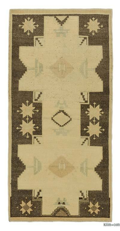 "All Wool Hand Knotted Vintage Area Rug - 3' 2"" x 6' 5"" (38 in. x 77 in.)"