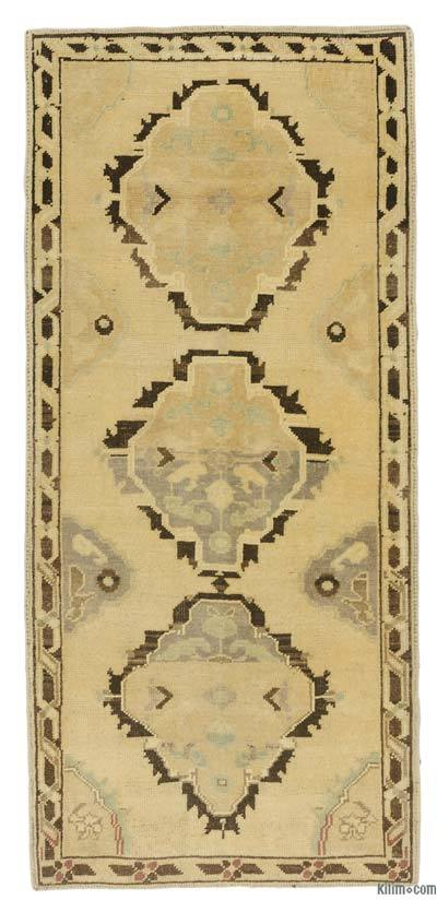 "Beige, Brown All Wool Hand Knotted Vintage Area Rug - 2' 9"" x 5' 4"" (33 in. x 64 in.)"