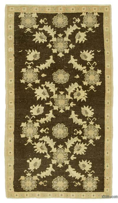 """All Wool Hand Knotted Vintage Area Rug - 3'  x 5' 5"""" (36 in. x 65 in.)"""