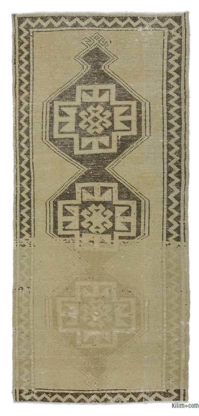 "Beige, Brown All Wool Hand Knotted Vintage Area Rug - 2' 10"" x 6' 3"" (34 in. x 75 in.)"