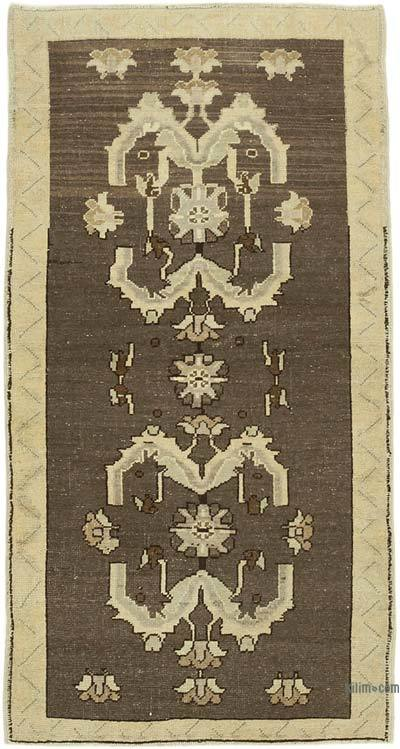 "All Wool Hand Knotted Vintage Area Rug - 2'11"" x 5'5"" (35 in. x 65 in.)"