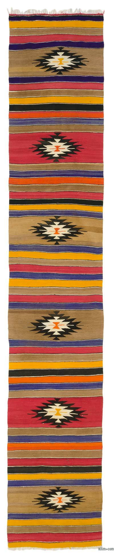 "Vintage Turkish Kilim Runner - 3'  x 16' 7"" (36 in. x 199 in.)"