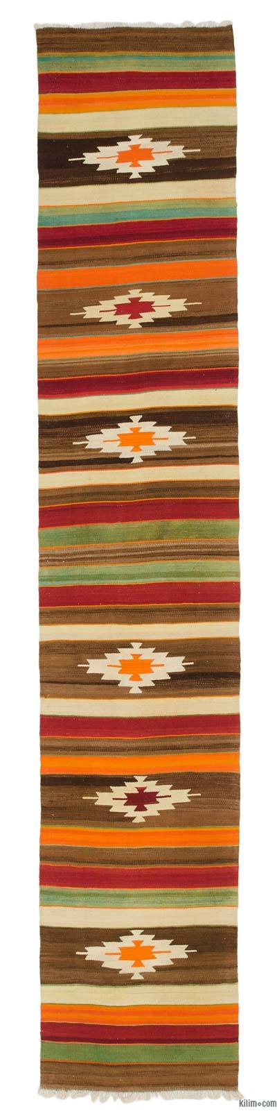 "Vintage Turkish Kilim Runner - 2' 11"" x 15' 7"" (35 in. x 187 in.)"