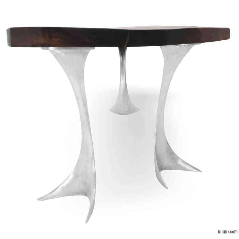 Walnut Table with Sand Cast Aluminium Legs - K0040422