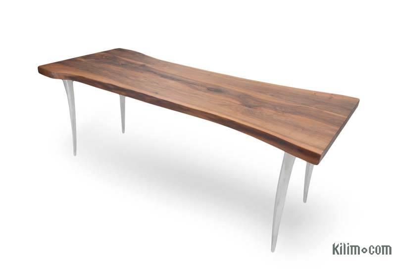 Walnut Table with Sand Cast Aluminium Legs - K0040423
