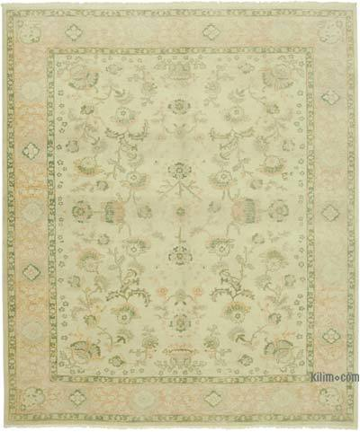 """Beige, Green New Hand Knotted All Wool Oushak Rug - 8' 8"""" x 10' 4"""" (104 in. x 124 in.)"""