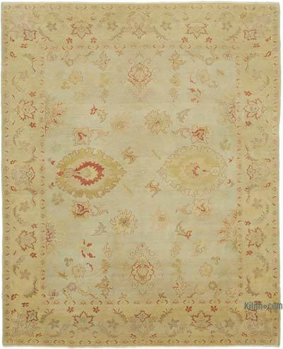 "Beige New Hand Knotted All Wool Oushak Rug - 8' 1"" x 10'  (97 in. x 120 in.)"