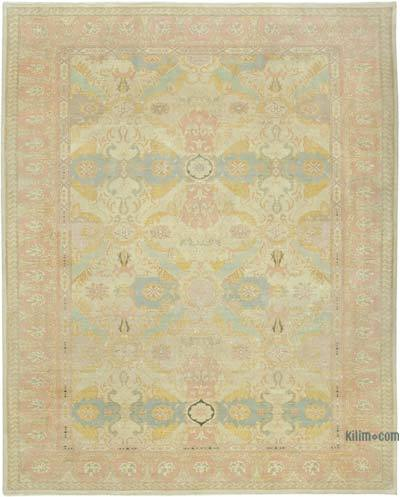 "Beige New Hand Knotted All Wool Oushak Rug - 9' 1"" x 11' 4"" (109 in. x 136 in.)"