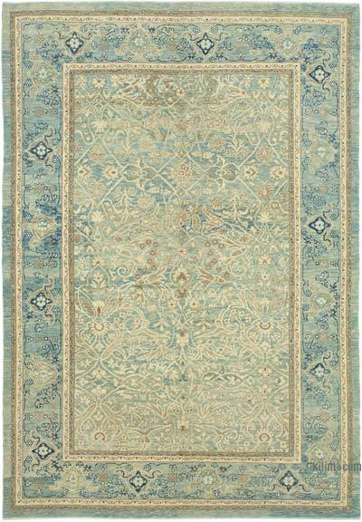"Beige, Blue New Hand Knotted All Wool Oushak Rug - 6' 11"" x 9' 11"" (83 in. x 119 in.)"